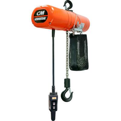 CM Lodestar 1/2 Ton, Electric Chain Hoist W/ Chain Container, 20' Lift, 16 FPM, 115V