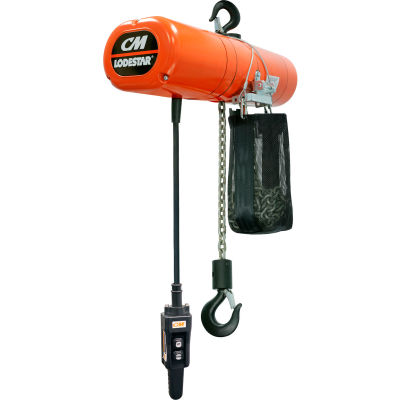 CM Lodestar 1 Ton, Electric Chain Hoist W/ Chain Container, 20' Lift, 16 FPM, 115V