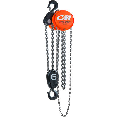 CM Cyclone Hand Chain Hoist, 6 Ton, 10 Ft. Lift