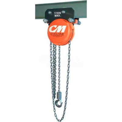 CM Cyclone Hand Chain Hoist on Plain Trolley, 1 Ton, 15 Ft. Lift
