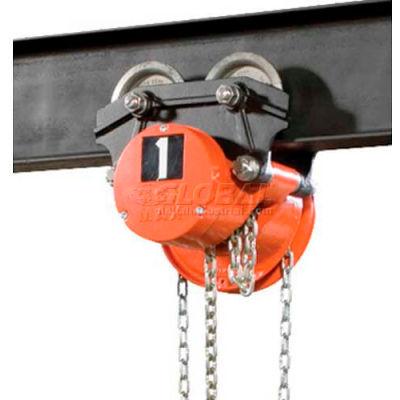 CM Cyclone Hand Chain Hoist on Low Headroom Plain Trolley, 1 Ton, 15 Ft. Lift