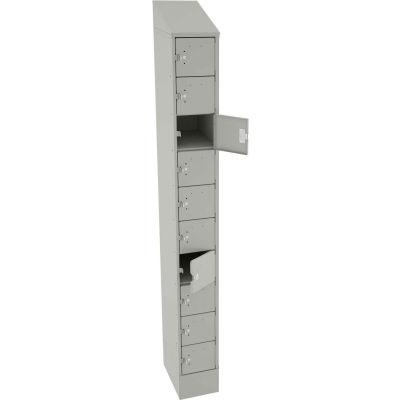 """Tennsco 10 Door Cell Phone Locker CP10-091572-A-LGY - 1 Wide w/Hasp 9""""W x 15""""D x 72"""" Light Gray"""