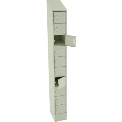 "Tennsco 10 Door Cell Phone Locker CP10-091572-A-CPY - 1 Wide w/Hasp - 9""W x 15""D x 82-3/4""H Putty"
