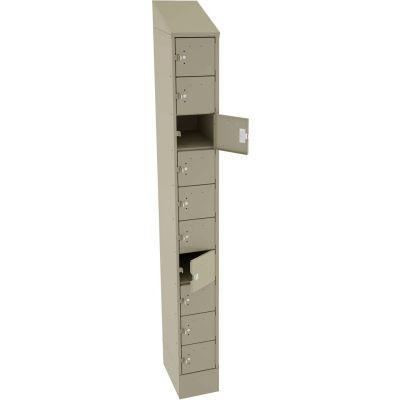 "Tennsco 10 Door Cell Phone Locker CP10-091572-A-SND - 1 Wide w/Hasp - 9""W x 15""D x 82-3/4""H Sand"
