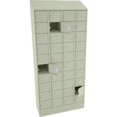 "Tennsco 40 Door Cell Phone Locker CP10-091572-D-CPY - 4 Wide w/Hasp - 36""W x 15""D x 82-3/4""H Putty"
