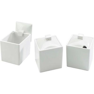 "Cal-Mil 1432-15 Melamine Square Jar with Full Lid 4""W x 4""D x 4""H - Pkg Qty 3"