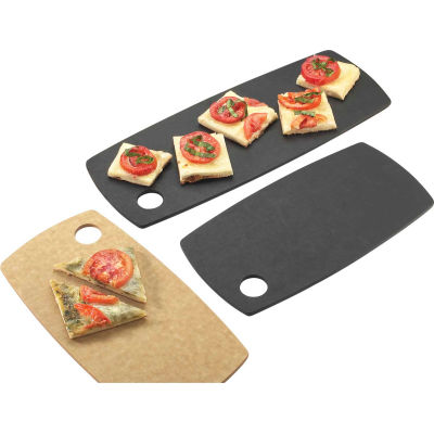 """Cal-Mil 1531-616-13 Rounded Edge Rectangle Flat Bread Board 16""""W x 6""""D x 1/4""""H Black - Pkg Qty 3"""
