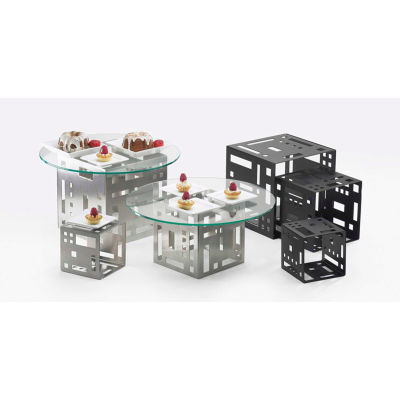 """Cal-Mil 1607-5-55 Squared Cube Riser 5""""W x 5""""D x 5""""H Stainless Steel"""