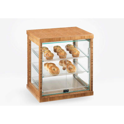 "Cal-Mil 284-S-60 Bamboo Bakery Display Case with Acrylic Doors and Trays 21""W x 16-1/4""D x 22-1/2""H"