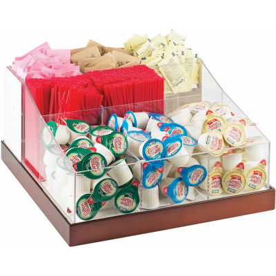 """Cal-Mil 3009-55 Luxe Multi-Section Condiment Organizer White and SS 12-1/4""""W x 12-1/4""""D x 6-1/2""""H"""