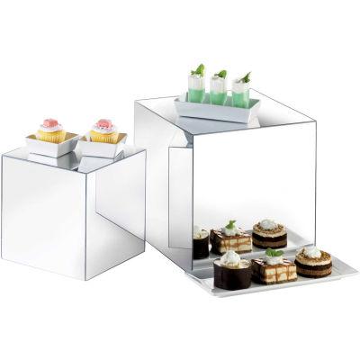 "Cal-Mil MC700 Set of 3 Mirror Cube Risers 8"", 10"", 12"""