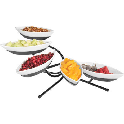 """Cal-Mil SR303-39 Angled 5 Small Canoe Tier Stand 29""""W x 13""""D x 16""""H Platinum"""
