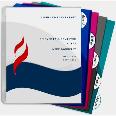 C-Line Products 5-Tab Poly Binder Index Dividers with Slant Pockets, Assorted, 60/Set
