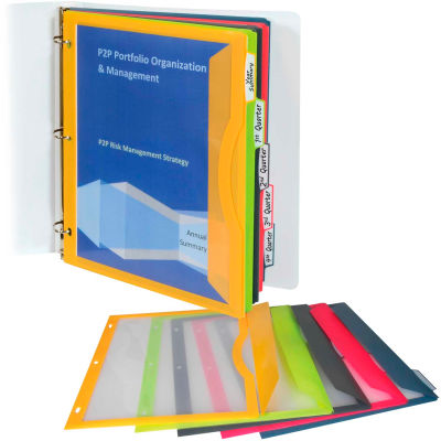 "C-Line Products Binder Pocket with Write-on Index Tabs, Assorted, 8-1/2"" x 11"", 5/BX, 12 BX/Set"