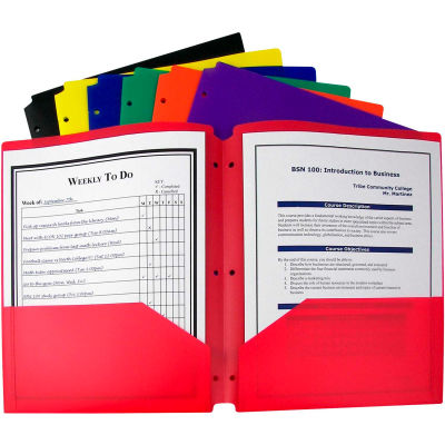 C-Line Products Two-Pocket Hvywt Poly Folders w/Three-Hole Punch, Primary Colors (Color May Vary) - Pkg Qty 18