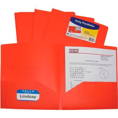 C-Line Products Two-Pocket Heavyweight Poly Portfolio Folder, Orange, 25 Folders/Set