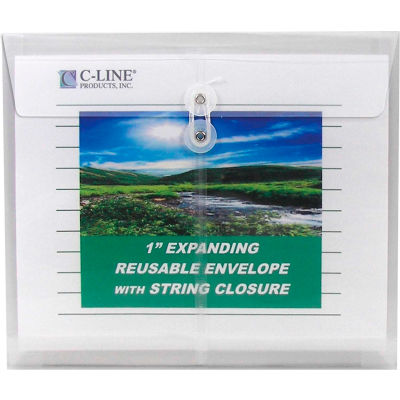 C-Line Products Biodegradable Reusable Poly Envelope w/String Closure, Side Load, Clear, 25/Set