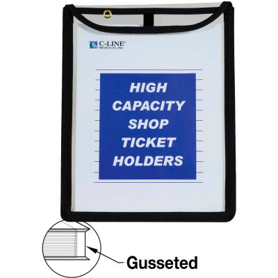 C-Line Products Shop Ticket Holder, Gusseted, Stitched, Both Sides Clear, 9 x 12 x 1, 15/BX