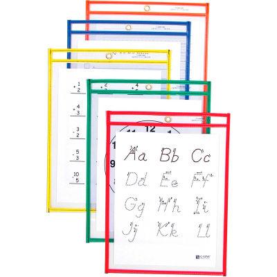 C-Line Products Reusable Dry Erase Pockets, Assorted Primary Colors, 9 x 12, 25/BX