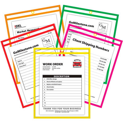 C-Line Products Neon Shop Ticket Holder, Stitched, Assorted Colors, 9 x 12, 25/BX