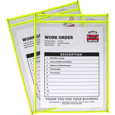 C-Line Products Neon Shop Ticket Holder, Yellow, Stitched, Both Sides Clear, 9 x 12, 15EA/BX