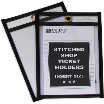 C-Line Products Shop Ticket Holders, Stitched, Both Sides Clear, 4 x 6, 25/BX