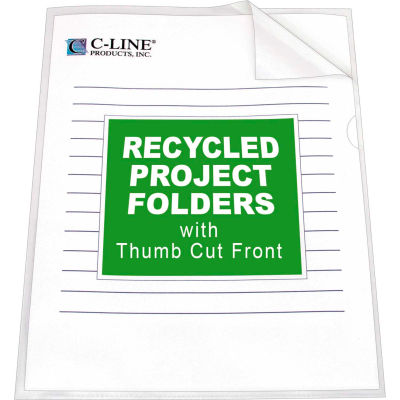 C-Line Products Recycled Project Folders, Clear - Reduced glare, 11 x 8 1/2, 25/BX - Pkg Qty 3