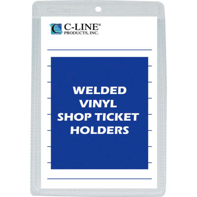 C-Line Products Vinyl Shop Ticket Holder, Both Sides Clear, 5 x 8, 50/BX