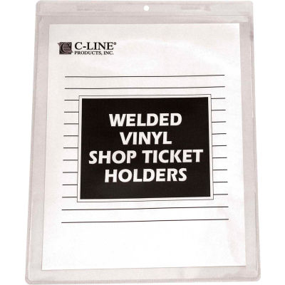 C-Line Products Vinyl Shop Ticket Holder, Both Sides Clear, 8 1/2 x 11, 50/BX