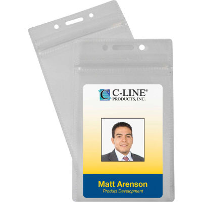 C-Line Products Zippered Badge Holders, Vertical, 50/PK