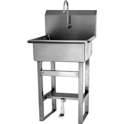 Sani-Lav® 5241-0.5 Floor Mount Sink With Single Foot Pedal Valve, Low-Flow 0.5 GPM