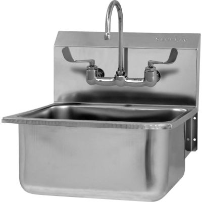 Sani-Lav® 525FL-0.5 Wall Mount Sink With Faucet, Low-Flow 0.5 GPM