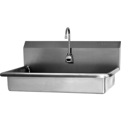 SANI-LAV 5A1B-0.5 ADA Compliant Wall Mount Sink With Battery Sensor Faucet, Low-Flow 0.5 GPM