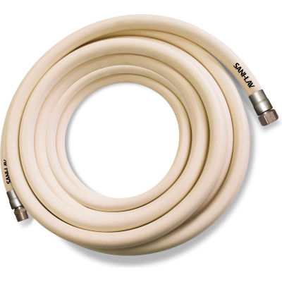 """Sani-Lav® H100W3 Wash Down Hose, 3/4"""" MGHT Swivel x FGHT, Stainless Steel, White - 100'"""