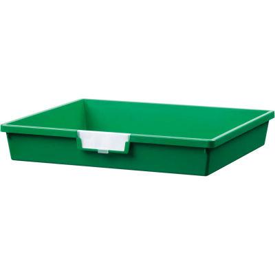 "Certwood Extra Wide Single Depth Storage Tote Tray CE1956PG - 16-3/4""L x 18-1/2""W x 3""H Green - Pkg Qty 10"