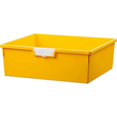 "Certwood Extra Wide Double Depth Storage Tote Tray CE1958PY - 16-3/4""L x 18-1/2""W x 6""H Yellow - Pkg Qty 5"