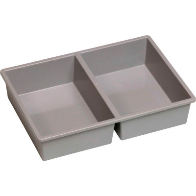 "Certwood Stortray Insert CE4000 - 2 Division 7-7/8""L x 11-1/4""W x 2-3/8""H Light Gray - Pkg Qty 10"