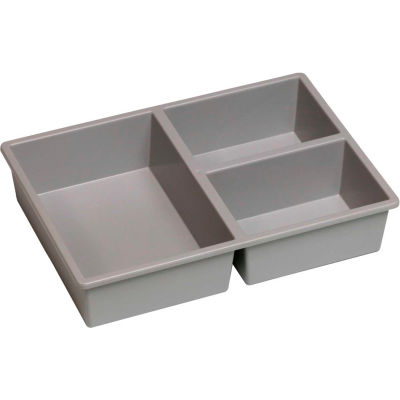 """Certwood Stortray Insert CE4001 - 3 Division Short 7-7/8""""L x 11-1/4""""W x 2-3/8""""H Light Gray - Pkg Qty 10"""