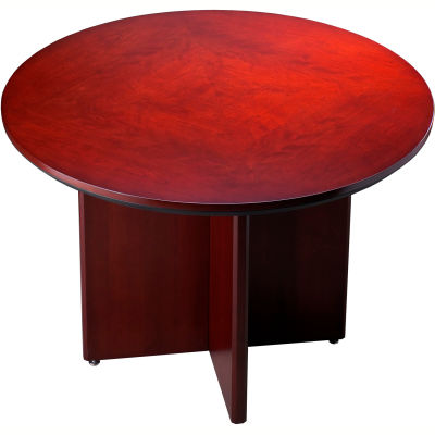 Safco® Round Conference Table - Boat Shaped - Sierra Cherry - Corsica Series