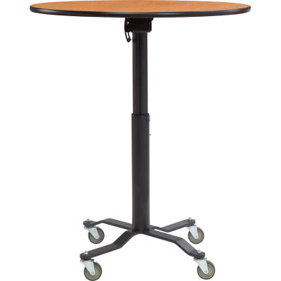 "Café Time II Table - 36""W x 30""-42""H - Round - Laminate Top with MDF Core - Montana Walnut"