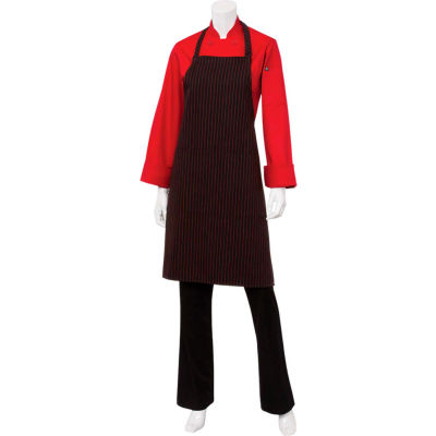 "Chef Works® CSAABRZ0, Pin Striped Bib Apron, Black W/Red Pinstripe, 34-1/4""x27"""