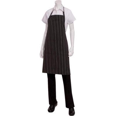 Chef Works® Bib Chalk Striped Chef Aprons, Black W/Chalk Stripe - CSBABCS0