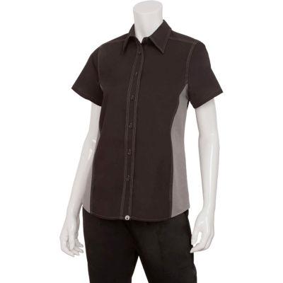 Chef Works® Women's Universal Contrast Shirt, Black/Gray Mesh, XL - CSWCBLMXL