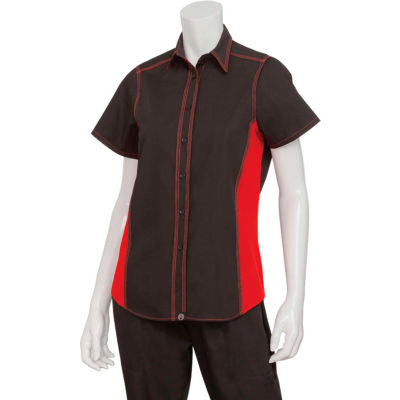 Chef Works® Women's Universal Contrast Shirt, Black/Red Mesh, S - CSWCBRMS