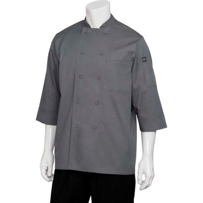 Chef Works® Basic 3/4 Sleeve Chef Coat, Gray, L - JLCLGRYL