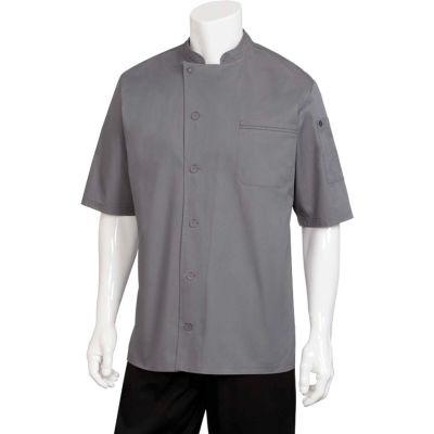 Chef Works® Valais V-series Chef Coat, Dark Gray W/Black Contrast, M - VSSSGBCM