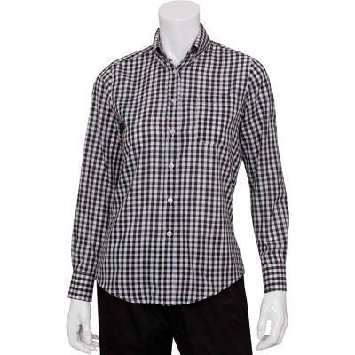 Chef Works® Women's Gingham Dress Shirt, Black & White Check, XL - W500BWCXL
