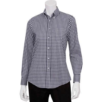 Chef Works® Women's Gingham Dress Shirt, Blue/White Check, L - W500BWKL