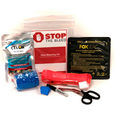 Celox BioLogistex BTKCT010 Bleeding Trauma Kit, Resealable Bag, 1 CAT Tourniquet, Chest Seal