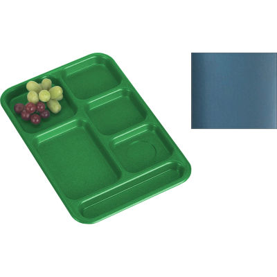 """Cambro PS1014414 - School Tray, 10"""" x 14"""" 6 Compartment, Teal - Pkg Qty 24"""